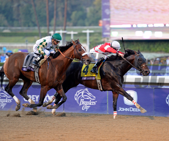 Caption: Fort Larned with Brian Hernandez Jr. wins the Breeders' Cup Classic.<br /> Breeders' Cup races at Santa Anita near Arcadia, California, on Nov. 3, 2012.<br /> BCRACES2012        Classic  image<br /> Photo by Anne M. Eberhardt