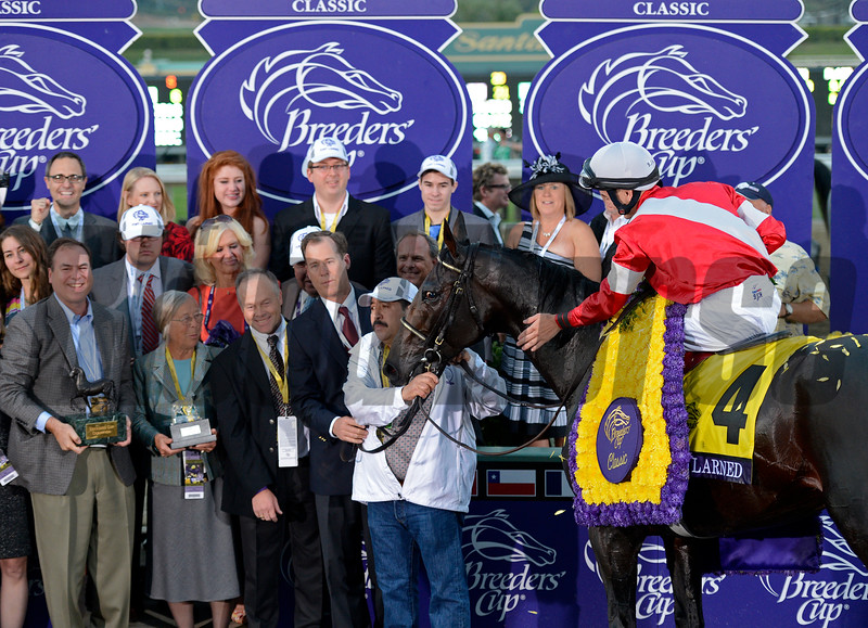 Caption: Fort Larned with Brian Hernandez Jr. wins the Breeders' Cup Classic.<br /> Breeders' Cup races at Santa Anita near Arcadia, California, on Nov. 3, 2012.<br /> BCRACES2012        Classic  image790<br /> Photo by Anne M. Eberhardt