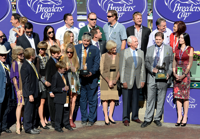 Caption:  Tapizar #8 with Corey Nakatani wins the Dirt Mile.<br /> Breeders' Cup races at Santa Anita near Arcadia, California, on Nov. 3, 2012.<br /> BCRACES2012      Turf  image872<br /> Photo by Anne M. Eberhardt