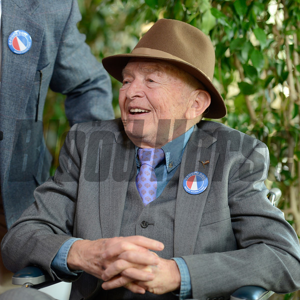 Caption: Fred Bradley, co-owner of Groupie Doll<br /> Breeders' Cup races at Santa Anita near Arcadia, California, on Nov. 3, 2012.<br /> BCRACES2012        DirtMilet   image758<br /> Photo by Anne M. Eberhardt