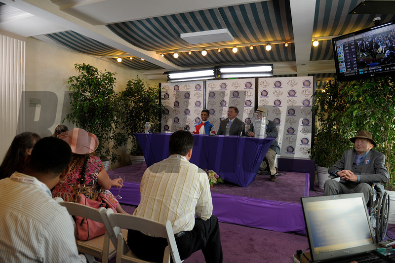 Caption: Groupie Doll connections: Fred Bradley, right, Buff Bradley center<br /> Breeders' Cup races at Santa Anita near Arcadia, California, on Nov. 3, 2012.<br /> BCRACES2012      Turf  image829<br /> Photo by Anne M. Eberhardt