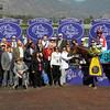 Caption: Buff and Fred Bradley, second/third from left after Groupie Doll with Rajiv Maragh wins the Filly and Mare Sprint<br /> Breeders' Cup races at Santa Anita near Arcadia, California, on Nov. 3, 2012.<br /> BCRACES2012        FillyMareSprint   image833<br /> Photo by Anne M. Eberhardt