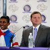 Caption: Buff Bradley, trainer of Groupie Doll, and Rajiv Maragh<br /> Breeders' Cup races at Santa Anita near Arcadia, California, on Nov. 3, 2012.<br /> BCRACES2012      Turf  image730<br /> Photo by Anne M. Eberhardt