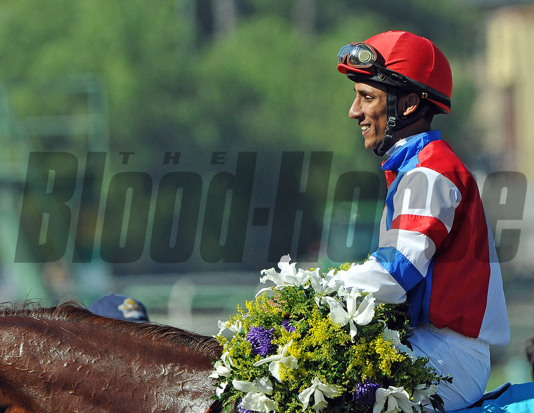 Rajiv Maragh after winningthe Breeders Cup F&M Sprint...<br /> © 2012 Rick Samuels/The Blood-Horse