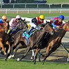 Eventual F&M Turf winner Zagora (orange cap) makes her move at the top of the stretch...<br /> © 2012 Rick Samuels/The Blood-Horse