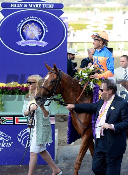 Caption: Mr. and Mrs. Martin Schwartz lead in Zagora<br /> Zagora with Javier Castellano wins the Breeders' Cup Filly and Mare Turf.<br /> Breeders' Cup races at Santa Anita near Arcadia, California, on Nov. 2, 2012.<br /> BCRACES2012          FMTurf1   image201<br /> Photo by Anne M. Eberhardt