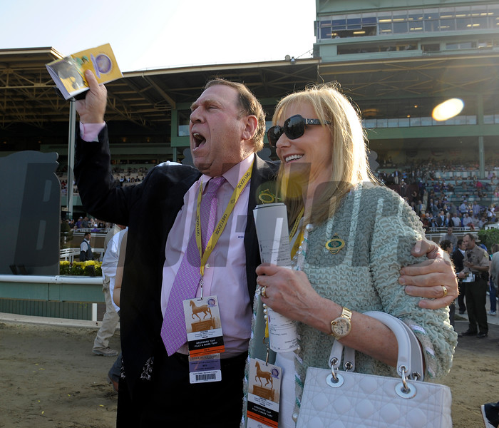 Caption: Owners Mr. and Mrs. Barry Schwartz celebrate.  Zagora with Javier Castellano wins the Breeders' Cup Filly and Mare Turf.<br /> Breeders' Cup races at Santa Anita near Arcadia, California, on Nov. 2, 2012.<br /> BCRACES2012          FMTurf2   image687<br /> Photo by Anne M. Eberhardt