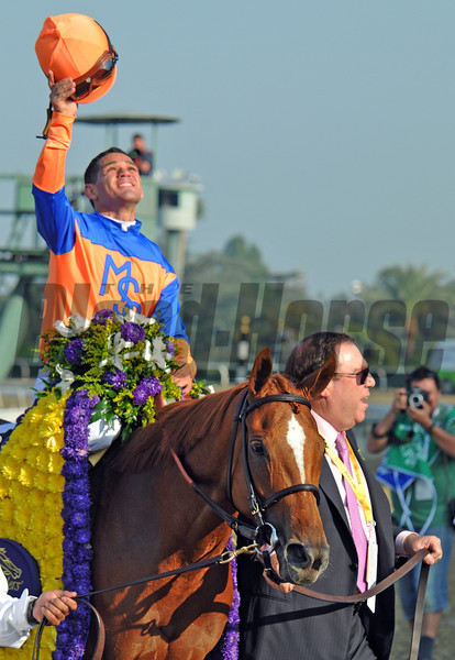 Martin Schwartz leads Zagora, and jockey Javier Castellano to the winners circle after winning the Breeders Cup Filly & Mare Turf...<br /> © 2012 Rick Samuels/The Blood-Horse