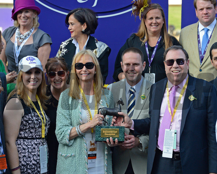 Caption: l-r, Schwartz family member, Mr. and Mrs. Martin Schwartz with trainer Chad Brown, center. Zagora with Javier Castellano wins the Breeders' Cup Filly and Mare Turf.<br /> Breeders' Cup races at Santa Anita near Arcadia, California, on Nov. 2, 2012.<br /> BCRACES2012          FMTurf1   image223<br /> Photo by Anne M. Eberhardt