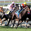 Zagrora w/Javier Castellano up (#2) surges past Marketing Mix w/Garrett Gomez up (#9) to win the Breeders' Cup Filly & Mare Turf at Santa Anita Park on November 2, 2012.<br /> Photo by Chad Harmon