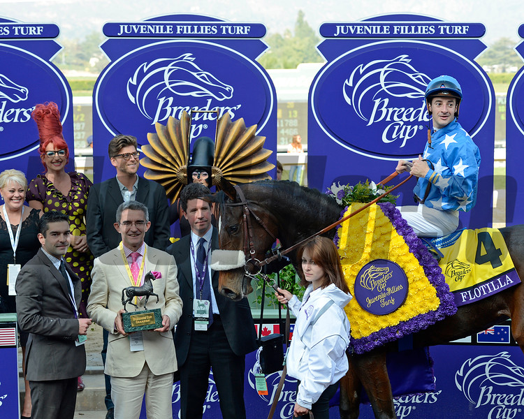 Flotilla with Christophe Lemaire wins the Juvenile Fillies Turf.<br /> Breeders' Cup races at Santa Anita near Arcadia, California, on Nov. 2, 2012.<br /> BCRACES2012                                          image918<br /> Photo by Anne M. Eberhardt