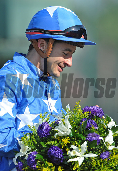 Jockey Christophe Lemaire after winning the Gr1 Breeders' Cup Juvenile Filly Turf on Flotilla<br /> © 2012 Rick Samuels/The Blood-Horse