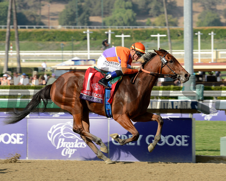 Caption: Beholder with Garrett Gomez up wins the Grey Goose Breeders' Cup Juvenile Fillies.<br /> Breeders' Cup races at Santa Anita near Arcadia, California, on Nov. 2, 2012.<br /> BCRACES2012                                          image34<br /> Photo by Anne M. Eberhardt