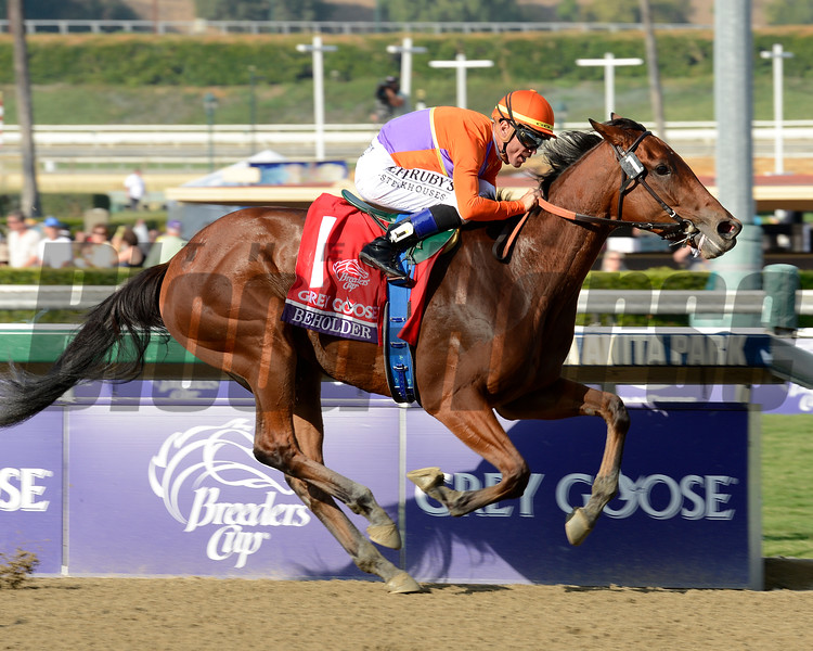 Caption: Beholder with Garrett Gomez up wins the Grey Goose Breeders' Cup Juvenile Fillies.<br /> Breeders' Cup races at Santa Anita near Arcadia, California, on Nov. 2, 2012.<br /> BCRACES2012                                          image3034<br /> Photo by Anne M. Eberhardt