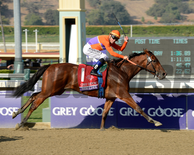 Caption: Beholder with Garrett Gomez up wins the Grey Goose Breeders' Cup Juvenile Fillies.<br /> Breeders' Cup races at Santa Anita near Arcadia, California, on Nov. 2, 2012.<br /> BCRACES2012                                          image36<br /> Photo by Anne M. Eberhardt