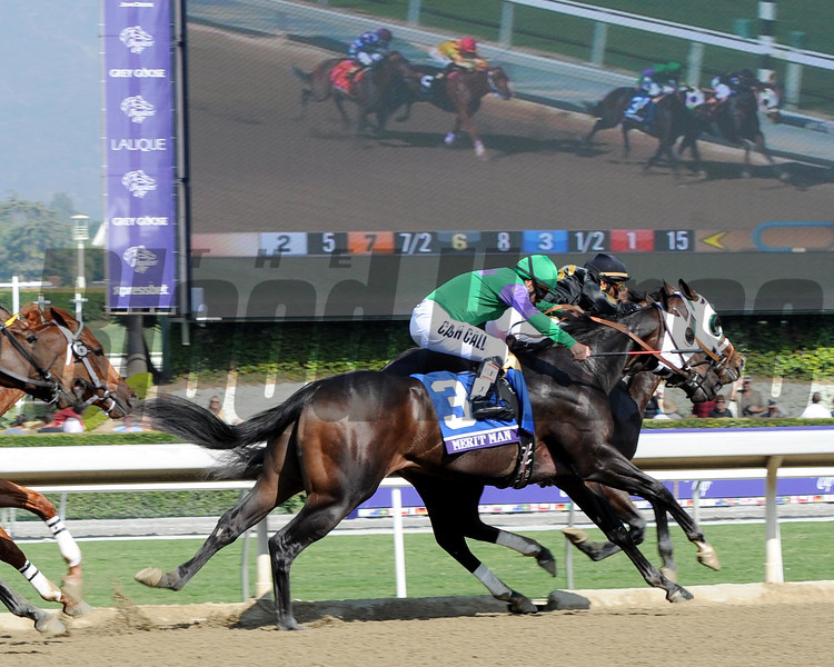 Hightail wins the 2012 Breeders' Cup Juvenile Sprint over Merit Man.<br /> Photo by Dave Harmon
