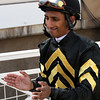 Rajiv Maragh is a happy jockey after no change is made following the inquiry for the Breeders' Cup Juvenile Sprint at Santa Anita Park on November 2, 2012 aboard Hightail.<br /> Photo by Chad Harmon