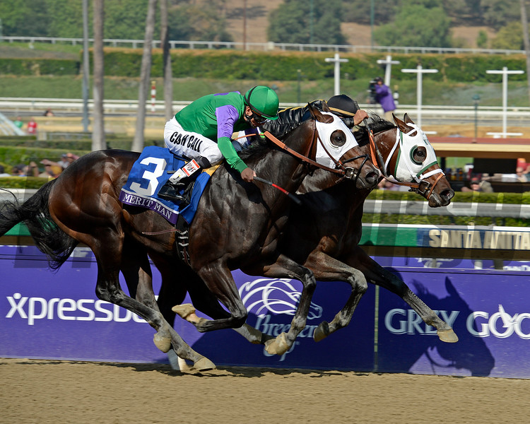 Caption: Hightail (inside) with Rajiv Maragh wins the Juvenile Sprint with Merit Man and Pat Valenzuela in second.<br /> Breeders' Cup races at Santa Anita near Arcadia, California, on Nov. 2, 2012.<br /> BCRACES2012                                          image642<br /> Photo by Anne M. Eberhardt