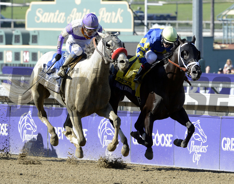 Shanghai Bobby with jockey Rosie Napravnik beats out #3He's Had Enough with jockey Mario Gutierrez to the wire to win The Breeders' Cup Juvenile at Santa Anita Park in Arcadia, California November 3, 2012.  <br /> Photo by Skip Dickstein