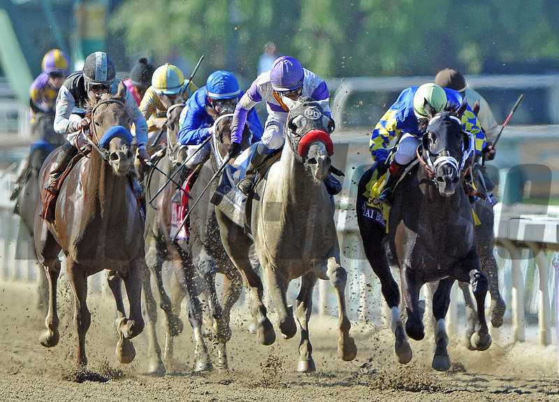Shanghai Bobby (inside), Rosie Napravnik up, holds off He's Had Enough to win the Breeders Cup Juvenile...<br />  © 2012 Rick Samuels/The Blood-Horse