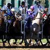Shanhai Bobby w/Rosie Napravnik up (#4) & He's Had Enough w/Mario Gutierrez up (#3) leave the starting gate and end up finishing 1st & 2nd respectively in the Breeders' Cup Juvenile at Santa Anita Park on November 3, 2012.<br /> Photo by Chad Harmon