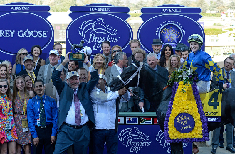 Caption: Shanghai Bobby with Rosie Napravnik wins the Grey Goose Juvenile<br /> Breeders' Cup races at Santa Anita near Arcadia, California, on Nov. 3, 2012.<br /> BCRACES2012     Juvenile image110<br /> Photo by Anne M. Eberhardt