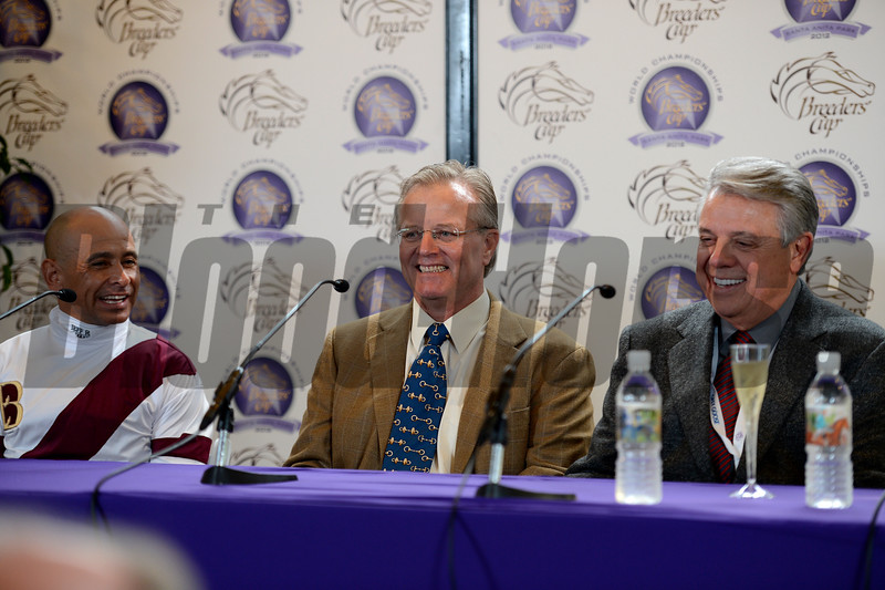 Caption: News conference with l-r, Mike Smith, Bill Mott, and Ben Leon Royal Delta with Mike Smith wins the Ladies Classic.  Breeders' Cup races at Santa Anita near Arcadia, California, on Nov. 2, 2012. BCRACES2012          Ladies Classic3          image414 Photo by Anne M. Eberhardt