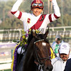 Mike Smith celebrates his victory aboard Royal Delta in the Breeders' Cup Ladies' Classic at Santa Anita Park on November 2, 2012.<br /> Photo by Chad Harmon