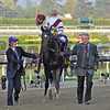 Owner Benjamin Leon, leads Royal Delta and jockey Mike Smith, to the winners circle, after winning the Breeders Cup Ladies' Classic at Santa Anita...<br /> © 2012 Rick Samuels/The Blood-Horse