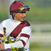Jockey Mike Smith after winning the Breeders Cup Ladies' Classic at Santa Anita on Royal Delta...<br /> © 2012 Rick Samuels/The Blood-Horse