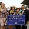 Caption: Mike Smith's mom, second right, and family/friends celebrate Mike's wins as leading jockey.  Royal Delta with Mike Smith wins the Ladies Classic. <br /> Breeders' Cup races at Santa Anita near Arcadia, California, on Nov. 2, 2012.<br /> BCRACES2012          Ladies Classic2    image736<br /> Photo by Anne M. Eberhardt
