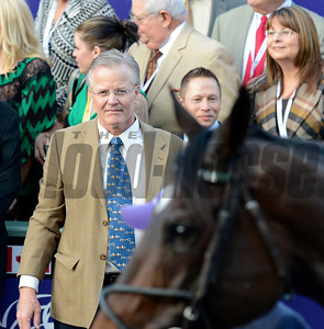 Caption: Bill Mott looks at Royal Delta in winner circle. Royal Delta with Mike Smith wins the Ladies Classic.  Breeders' Cup races at Santa Anita near Arcadia, California, on Nov. 2, 2012. BCRACES2012          Ladies Classic1    image407 Photo by Anne M. Eberhardt
