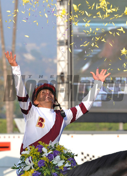 Jockey Mike Smith after winning the Breeders Cup Ladies' Classic at Santa Anita on Royal Delta...