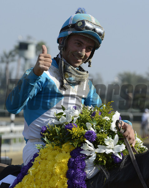 Aaron Gryder guides Calidoscopio to the victory in the Breeders' Cup Marathon at Santa Anita Park in Arcadia, California November 2, 2012.  Photo by Skip Dickstein