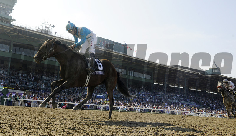 Aaron Gryder guides Calidoscopio to the victory in the Breeders' Cup Marathon at Santa Anita Park in Arcadia, California November 2, 2012.  <br /> Photo by Skip Dickstein
