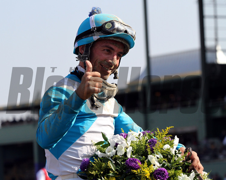 Aaron Gryder celebrates his victory aboard Calidoscopio in the Breeders' Cup Marathon at Santa Anita Park on November 2, 2012.<br /> Photo by Chad Harmon