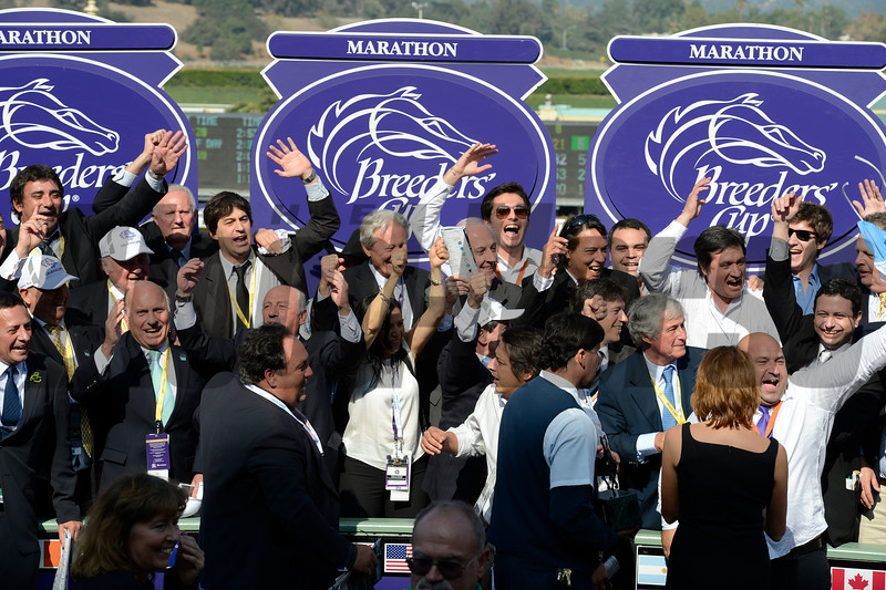 supporters cheer and sing in the winner circle<br /> Calidoscopio with Aaron Gryder wins the Breeders' Cup Marathon.<br /> Breeders' Cup races at Santa Anita near Arcadia, California, on Nov. 2, 2012.<br /> BCRACES2012                                          image766<br /> Photo by Anne M. Eberhardt