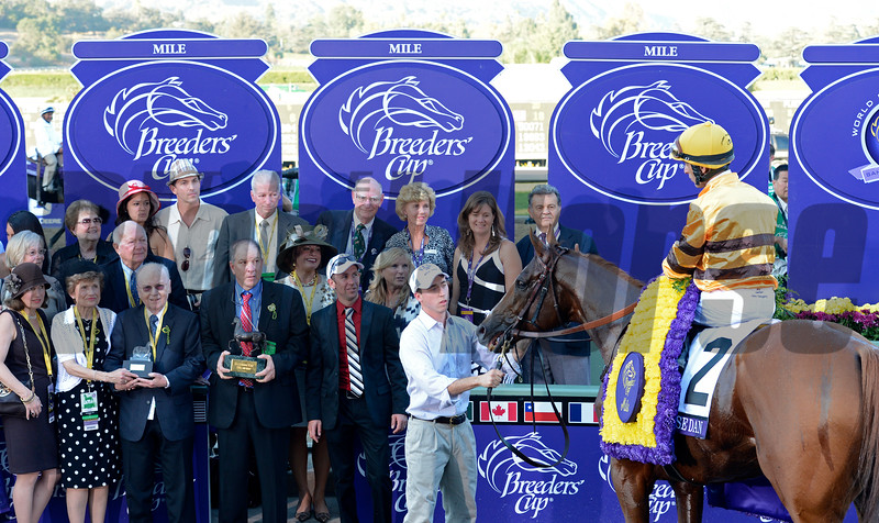 Caption: Wise Dan with John Velazquez wins the Mile.<br /> Breeders' Cup races at Santa Anita near Arcadia, California, on Nov. 3, 2012.<br /> BCRACES2012       Mile  image564<br /> Photo by Anne M. Eberhardt