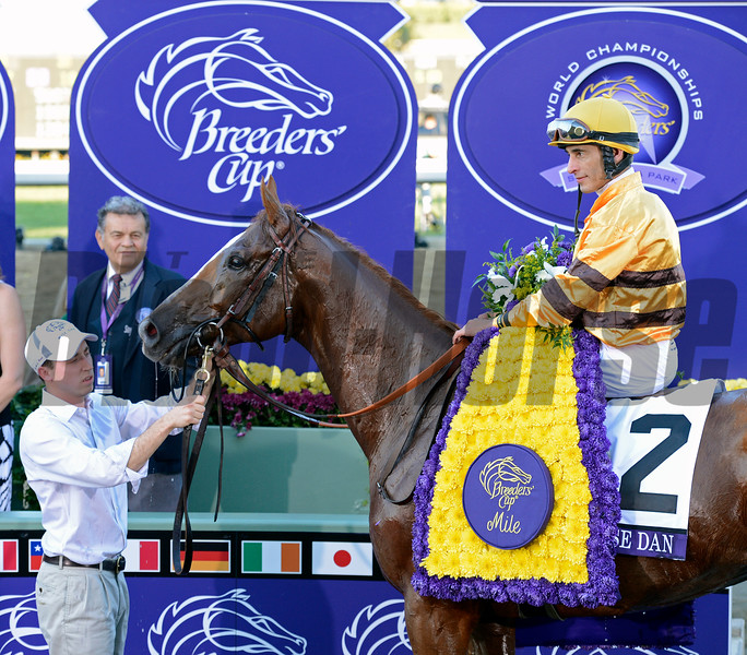 Caption: Wise Dan with John Velazquez wins the Mile.<br /> Breeders' Cup races at Santa Anita near Arcadia, California, on Nov. 3, 2012.<br /> BCRACES2012       Mile  image546<br /> Photo by Anne M. Eberhardt
