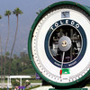 The scale at Santa Anita Park with the palm trees in the background on November 2, 2012.