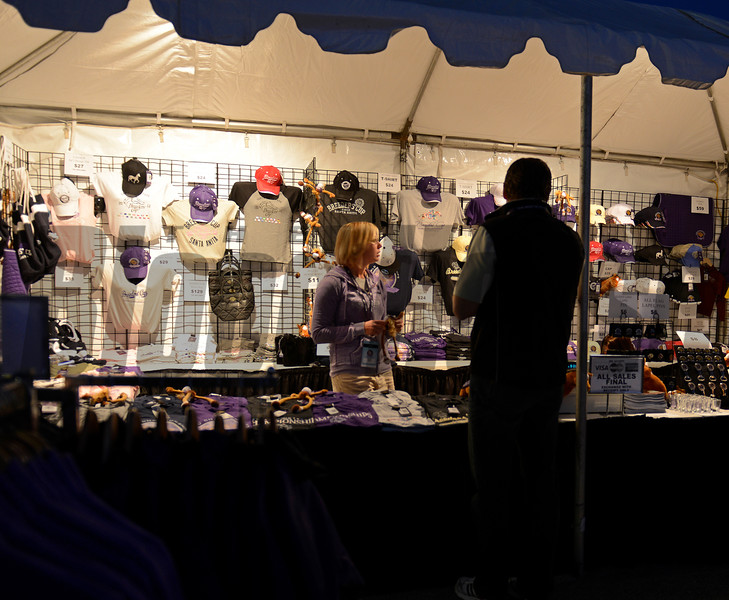 Caption: Breeders' Cup apparel<br /> Breeders' Cup morning works at Santa Anita near Arcadia, California, on Oct. 30, 2012.<br /> BCRACES2012 WorksTues1 image444<br /> Photo by Anne M. Eberhardt