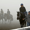 Caption: foggy work scene<br /> Breeders' Cup morning works at Santa Anita near Arcadia, California, on Oct. 31, 2012.<br /> BCRACES2012 WorksWed2 image<br /> Photo by Anne M. Eberhardt358