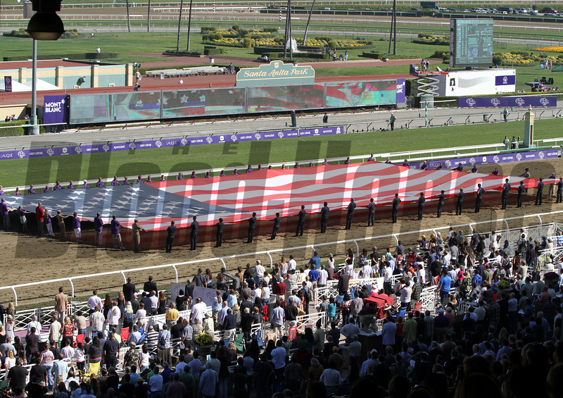 The American Flag displayed on the track at Santa Anita Park on November 3, 2012 while the National Anthem is sung.
