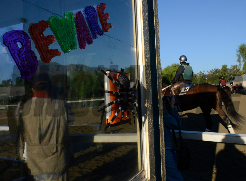 Caption: Halloween decorations in the barn area<br /> Breeders' Cup morning works at Santa Anita near Arcadia, California, on Oct. 30, 2012.<br /> BCRACES2012 WorksTues1 image470<br /> Photo by Anne M. Eberhardt