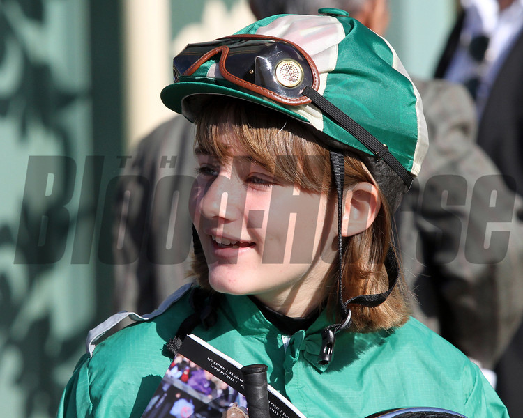 A fan in a jockey outfit at Santa Anita Park on November 3, 2012 for the Breeders' Cup.