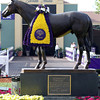 The Seabiscuit Statue in the Santa Anita Park walking ring adorned with the Breeders' Cup flowers on November 2, 2012.