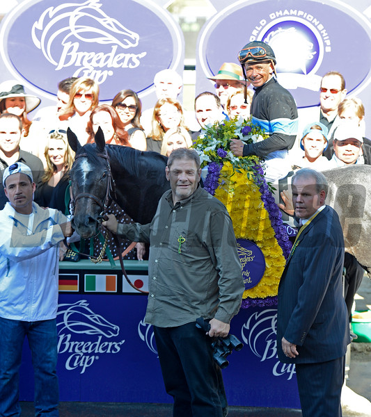 Caption: Mizdirection with Mike Smith wins the Turf Sprint.<br /> Breeders' Cup races at Santa Anita near Arcadia, California, on Nov. 3, 2012.<br /> BCRACES2012         TurfSprint   image<br /> Photo by Anne M. Eberhardt