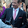 Caption: Jim Rome with trophy. Mizdirection with Mike Smith wins the Turf Sprint.<br /> Breeders' Cup races at Santa Anita near Arcadia, California, on Nov. 3, 2012.<br /> BCRACES2012         TurfSprint   image017<br /> Photo by Anne M. Eberhardt