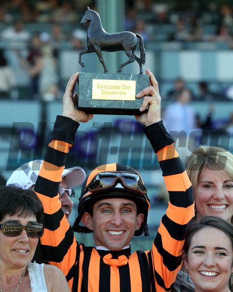 Ramon Dominguez celebrates his victory aboard Little Mike in the Breeders' Cup Turf at Santa Anita Park on November 3, 2012<br /> Photo by Chad Harmon.