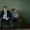 Caption: after Shackleford and before Little Mike, Dale Romans and his son Jake waited on a bench in the tunnel.<br /> Breeders' Cup races at Santa Anita near Arcadia, California, on Nov. 3, 2012.<br /> BCRACES2012         TurfSprint   image935<br /> Photo by Anne M. Eberhardt